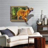 Removeable PVC 3D wall sticker visual shock wall paper tiger out of the photo frame home decor for living room(ZYPB8001)