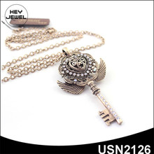 angel wing zinc alloy long chain pendant key to my heart necklace