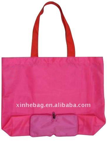 Plegable bolso de compras del poliester con bolsillo ( xh-nl00061 )