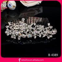 2015 Stylish unique design diamante flower metal hair comb wholesales