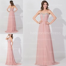 A Line Pink Beaded Chiffon Sweetheart Prom Dress 2015 Formal Party Dresses