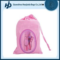 Personalized pink ballet shoe bag cotton drawstring bag