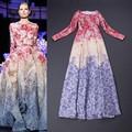 Nueva moda de calidad superior larga del otoño del vestido mujeres de la flor del océano romántico de impresión de manga larga a-line ocasión Formal de la tarde vestido