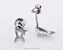 Sterling Silver Fish Tiny Simple Cute Lovely Stud Earrings