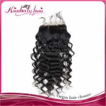 invisible part closure malaysian virgin hair deep curly lace closure
