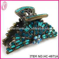 2013 Hot Sales Fashion Accessories Large Fancy Rhinestone Peacock Hair claw
