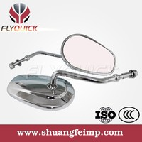 FLYQUICK Chrome and Black Motorcycle Aluminum Rearview Back Mirror for Harley DAVIDSON