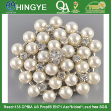 2015 wholesale rhinestone pearl brooches for wedding bouquet decoration