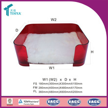 Manufacturer Custom Plastic Decoration Cushion Luxury Acrylic Floor Pet Bed For Dogs Cats