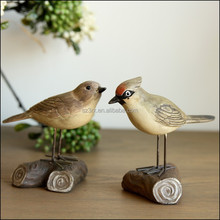 custom made plastic bird with wood , 7'' cartoon bird resin toys, 7''custom made bird Resin toys with wood