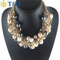 <<<Mix Color Pearl Necklace Hig Quality choker Multilayer Crystal Gold Chain Neckace & Pendants for women jewelry 2015/