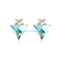 E1559 Free shipping jewelry frame ear wrap glass earring Newest golden lucency crystal glass earrings for women
