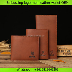 Embossing logo multifunctional customize mens pu trifold men's leather wallet