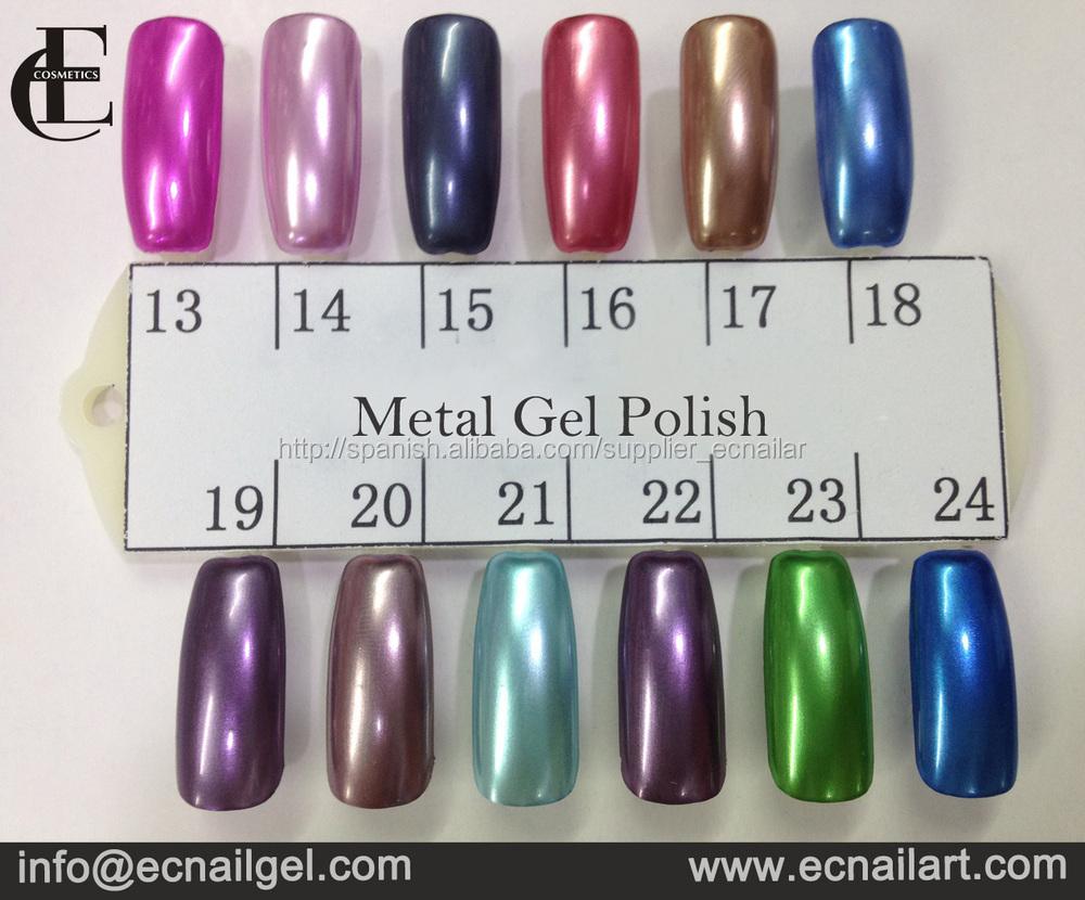 EC metálico gel de colores de esmalte de uñas al por mayor, metalico ...