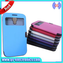 Dual Color Flip PU Leather mobile phone covers case for galaxy s4 i9500