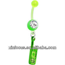 BIOPLAST Green CELL PHONE Dangle Belly Ring body jewelry
