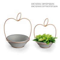Apple shape iron wire concrete cheap flower pot for home decor balcony flower pots