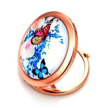 Fancy round magifying pocket compact makeup metal mirror