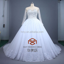 Conspicuous Long Sleeves Sweetheart Arabic Wedding Dress HMY-D349 Luxurious Ball Gown Heavy Crystal Beaded Alibaba Wedding Dress