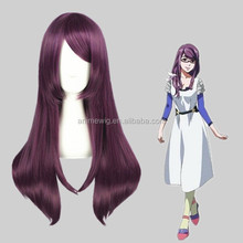High Quality 65cm Medium Long Straight Tokyo Ghoul-Kamishiro Rize Purple Mixed Synthetic Anime Wig Cosplay Hair Wig Party Wig