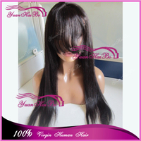 2015 Top 7A Quality! 12-30inch #1b silk straight mongolian virgin hair silk base full lace wig with bangs
