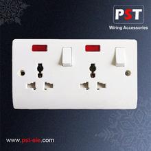 2 Gang 3 Pin Multi Function Universal,Double Power UK Button Switch Socket