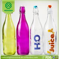 Colored wholesale glass milk bottle with stopper Set, Gift Decor Bottle Set