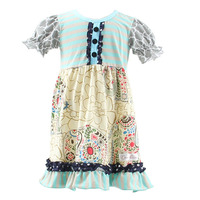 Newest Design The elephant fabric girls dress ruffled baby girl summer dress pakistan fashion girls dress 2015
