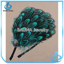 Beautiful wholesale bulk real peacock feather hair accessory