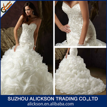 Conspicuous Mermaid Sweetheart Heavy Beaded Ruffle Organza Arabic Wedding Dress