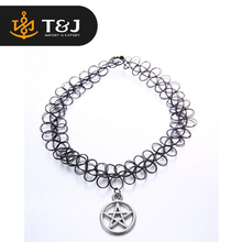 2015 Handmade Hot Selling Vintage Stretch Tattoo Choker Necklace Gothic Punk necklace Elastic with Pendant Necklaces