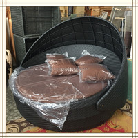rattan round outdoor lounge bed with canopy/ round rattan outdoor bed (F47)