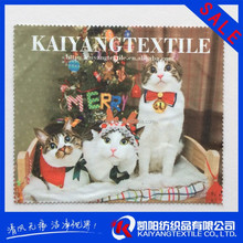 three cute cats hot transfer printing electric black microfiber cleaning cloth