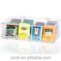 clear acrylic rectangle dividers tea bags storage boxes with lid manufacture