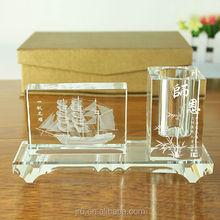 transparent crystal glass pen holder/brush pot for holiday gift