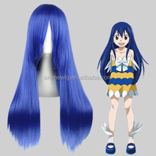 High Quality 70cm Long Straight FAIRY TAIL-Wendy Marvell Blue Synthetic Anime Wig Cosplay Hair Wig Party Wig