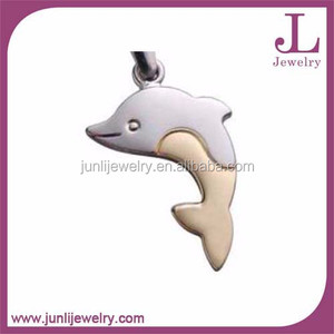 Collar de plata y oro acero inoxidable delfín