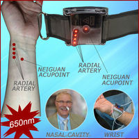 Wrist watch blood pressure control cold laser therapy to reduce high blood pressure, high cholesterol