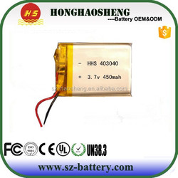 403040 Best Price Battery Cell 3.7v 450mah Li-polymer Battery With Pcb And Wire