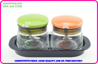 glass seasoning pot set/glass canister vacuum/kitchen canisters/storage canisters/