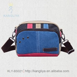 Fashion and functional contrast color canvas messenger bag, lovely style canvas waist bags, colorful canvas fanny pack