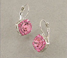 Feminine Silver Plated Rose Pink Crystal Leverback Earrings for lady