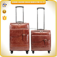 leather material vintage style eminent luggage with four universal wheels travel luggage bags for wholesale