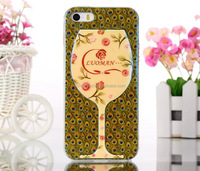 New soft tpu case for iphone 5/5s, IMD colorful print wine cup case for iphone 6