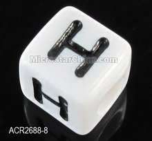 Special black color 8mm cube acrylic alphabet letter H beads
