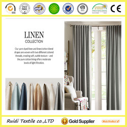 top quality 100% natural linen ready made window curtain
