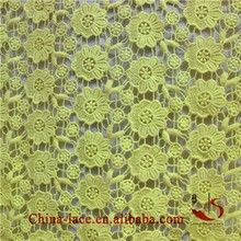 yelloow Fantasy Crochet Lace Fabric by the Yard -cotton