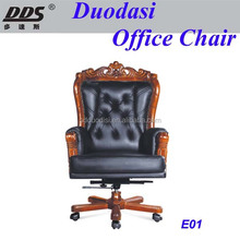 High Back Adjustable Genuine Leather Executive Office Chair with Wooden Base E01