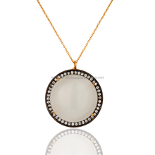 925 Sterling Silver White Moonstone Pendant Jewelry From Jaipur, Latest Design Prong Set. Cz Pendant Supplier