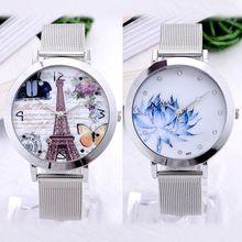 Elegant Women Business Dress Watch Eiffel Tower Flower Quartz 2015 New Fashion Stainless Steel Butterfly Watches Elegant